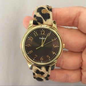 Cheetah Leopard Print Brown & Gold Timex Watch